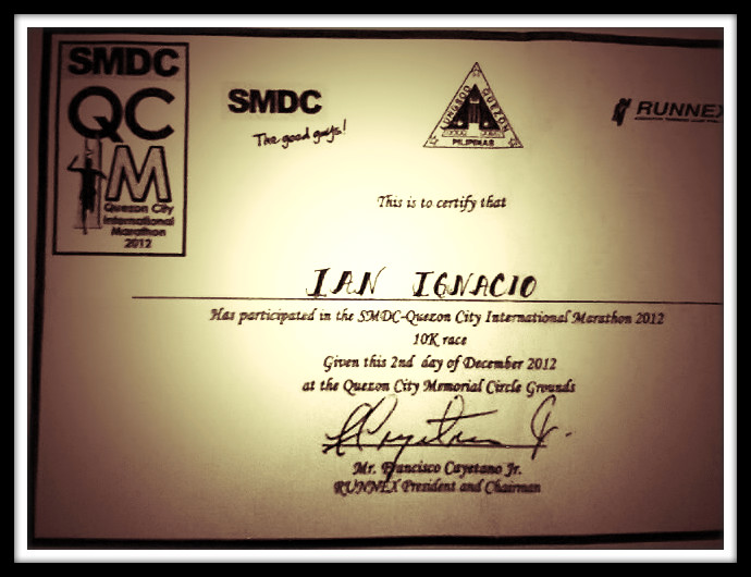 Certificate for finishing the 10K race catergory.